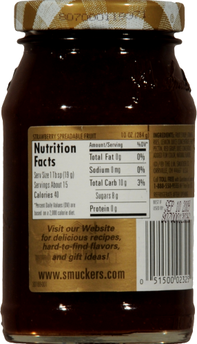 Smucker's Simply Fruit Strawberry Spread Perspective: back