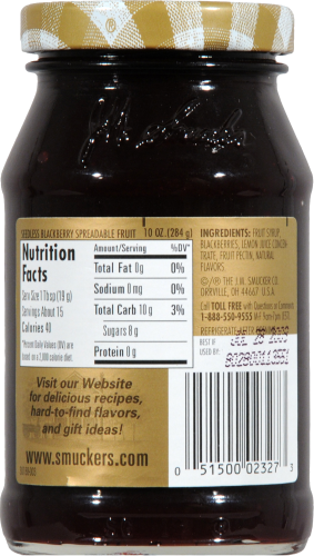 Smucker's Simply Fruit Seedless Blackberry Fruit Spread Perspective: back