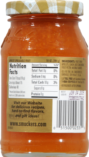 Smucker's Simply Fruit Apricot Spread Perspective: back