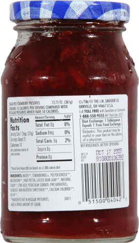 Smucker's Sugar Free Strawberry Preserves Spread Perspective: back