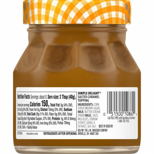 Smucker's Simple Delight Salted Caramel Topping Perspective: back