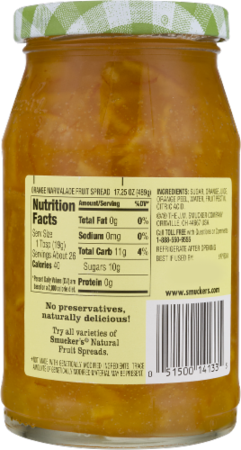 Smucker's Natural Orange Marmalade Fruit Spread Perspective: back