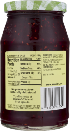 Smucker's Natural Red Raspberry Fruid Spread Perspective: back
