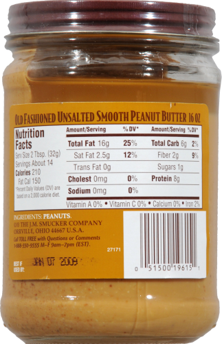 Laura Scudder's All Natural Old Fashioned Smooth Unsalted Peanut Butter Perspective: back