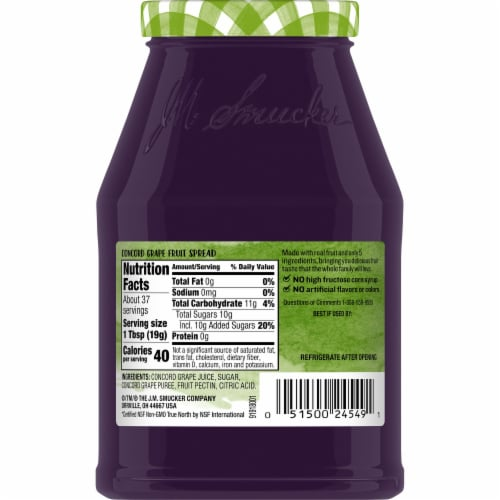 Smucker's Natural Concord Grape Fruit Spread Perspective: back