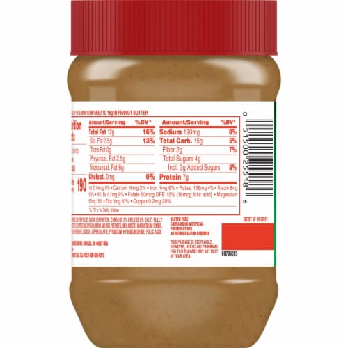 Jif Reduced Fat Creamy Peanut Butter Perspective: back