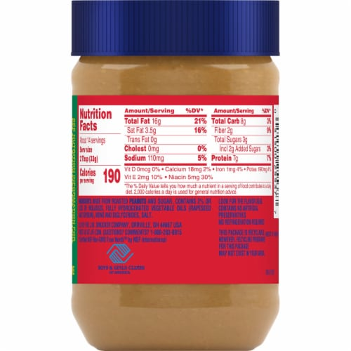 Jif Extra Crunchy Peanut Butter Perspective: back