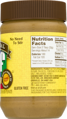 Jif Natural Creamy Honey Peanut Butter Perspective: back