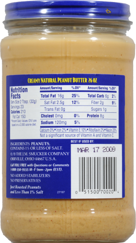 Adam's 100% Natural Creamy Peanut Butter Perspective: back