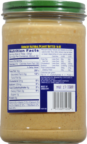 Adam's 100% Natural Crunchy Peanut Butter Perspective: back