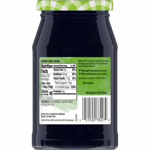 Smucker's Natural Blueberry Fruit Spread Perspective: back