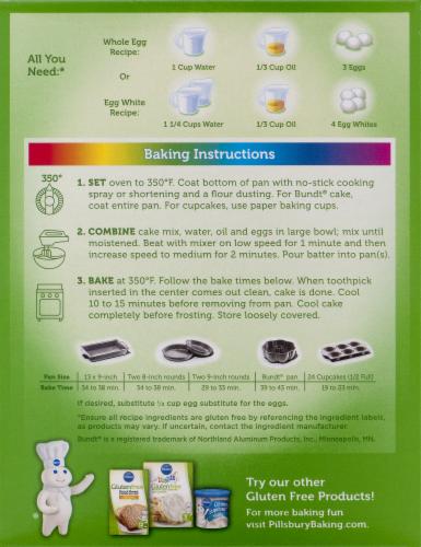 Pillsbury Gluten Free Funfetti Cake Mix Perspective: back