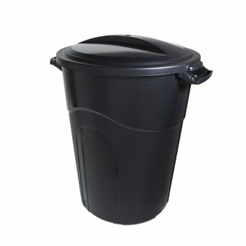 United Solutions Indoor Outdoor 32 Gal. Garbage Can w/ Lock Lid, Black (6 Pack) Perspective: back