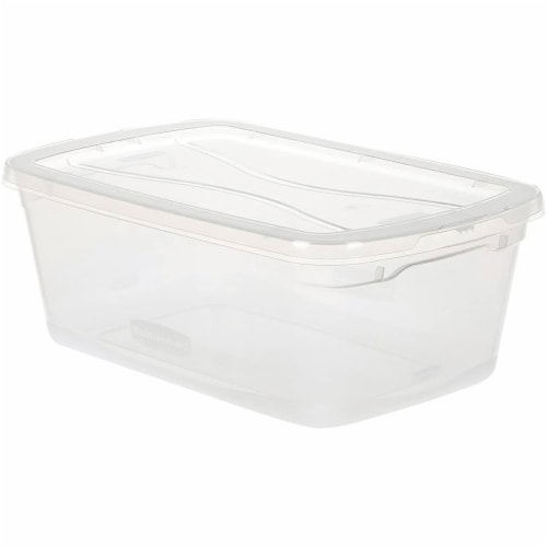 Rubbermaid 6 Quart Latching Clear Plastic Storage Tote Container & Lid, 12 Pack Perspective: back