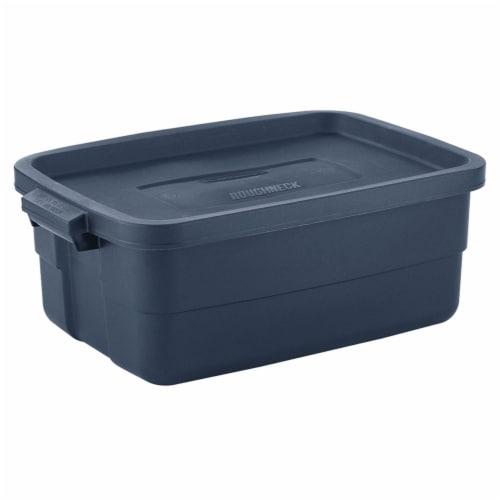 Rubbermaid 10 Gallon Stackable Storage Container, Dark Indigo Metallic (8 Pack) Perspective: back