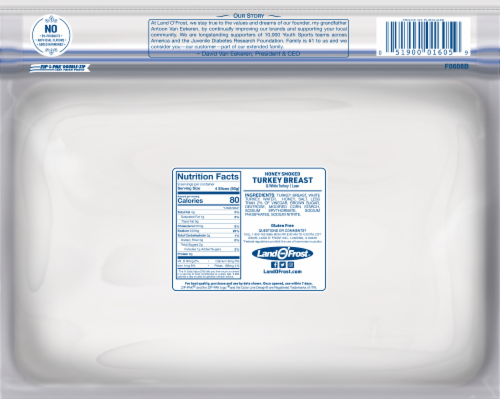 Land O' Frost Premium Honey Smoked Turkey Breast Lunch Meat Perspective: back