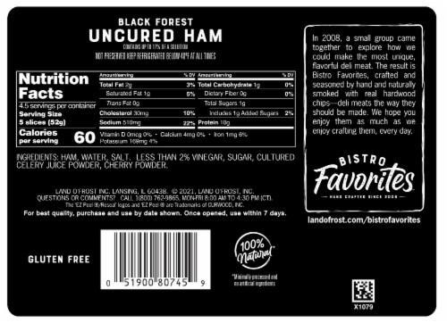 Land O' Frost Bistro Favorites Black Forest Uncured Ham Perspective: back
