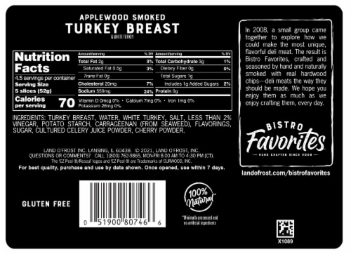 Land O' Frost Bistro Favorites Applewood Smoked Turkey Breast Perspective: back
