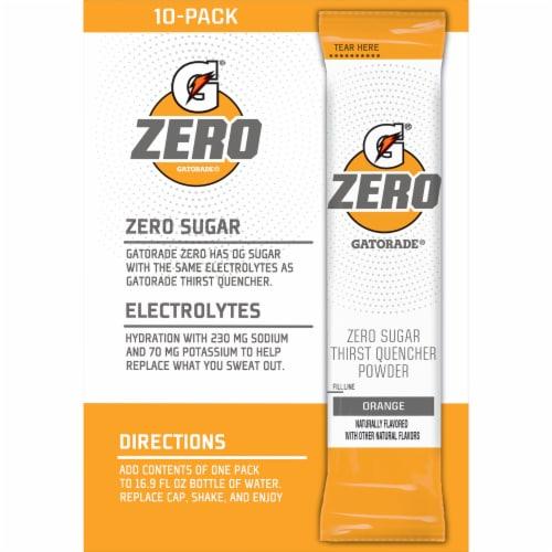 Gatorade Zero Sugar Orange Electrolyte Enhanced Sports Drink Powder Perspective: back