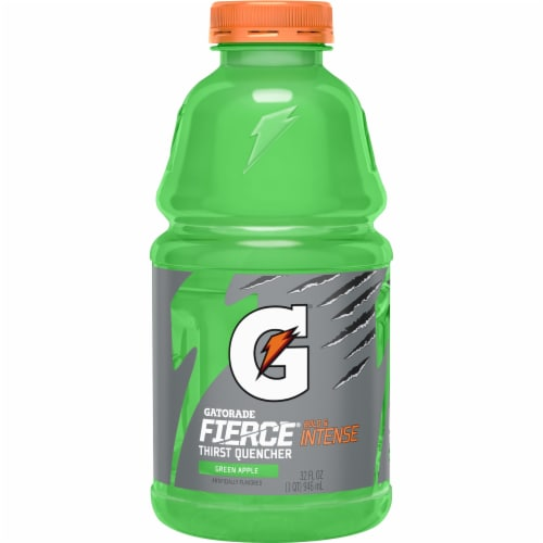 Gatorade Thirst Quencher Fierce Green Apple Electrolyte Enhanced Sports Drink Perspective: back