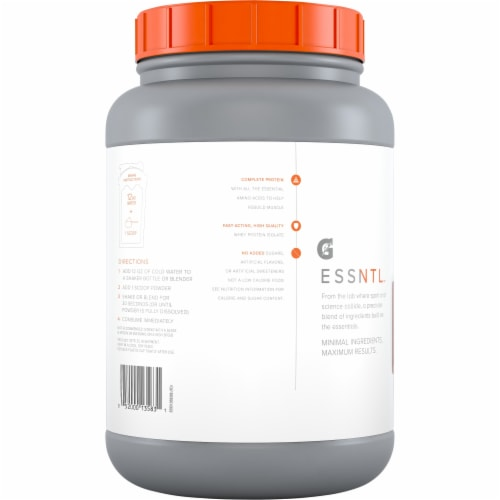 Gatorade ESSNTL Whey Isolate Chocolate Protein Powder Perspective: back