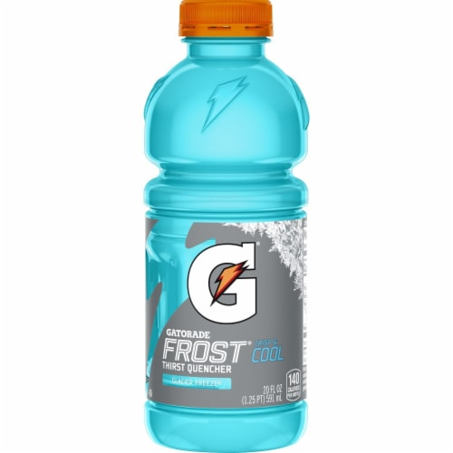 Gatorade Thirst Quencher Frost Glacier Freeze Electrolyte Enhanced Sports Drink 20 oz Bottle Perspective: back