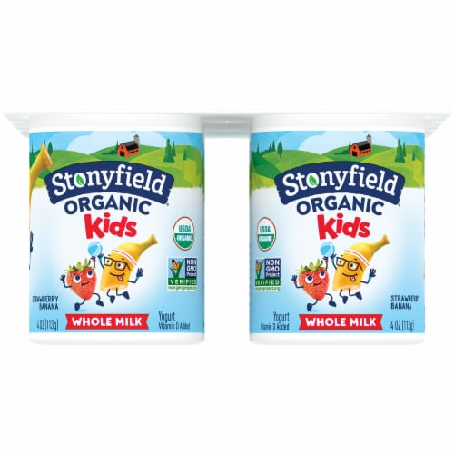 Stonyfield® Organic Kids Strawberry Banana Whole Milk Yogurt Perspective: back
