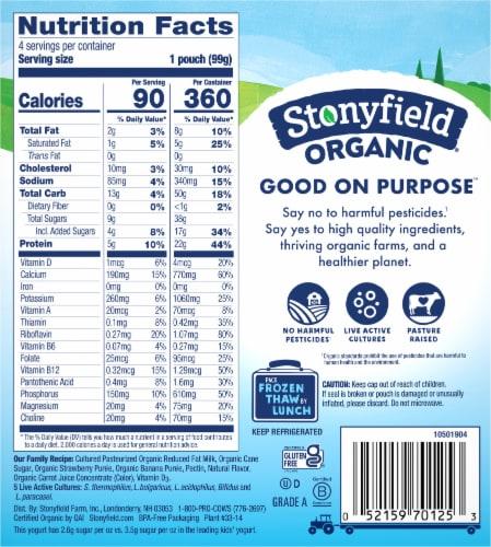 Stonyfield® Organic Kids Lowfat Strawberry Banana Yogurt Pouches Perspective: back