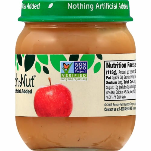 Beech-Nut Stage 2 Apple Baby Food Jar Perspective: back