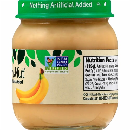 Beech-Nut Stage 2 Banana Baby Food Jar Perspective: back