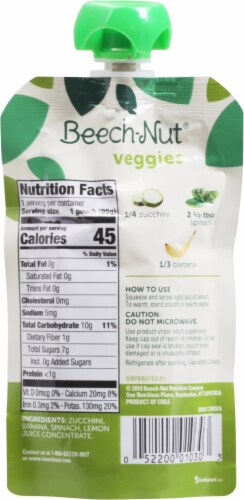 Beech-Nut Veggies On-the-Go Zucchini Spinach & Banana Blend Stage 2 Baby Food Perspective: back