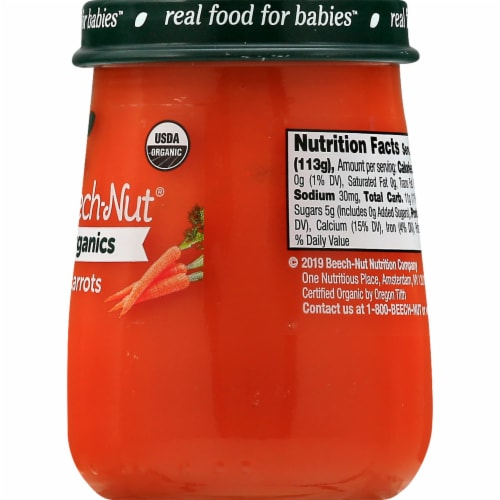 Beech-Nut Organics Stage 1 Carrots Baby Food Jar Perspective: back