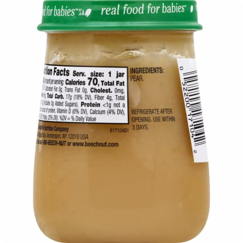 Beech-Nut® Naturals Stage 1 Pears Baby Food Perspective: back