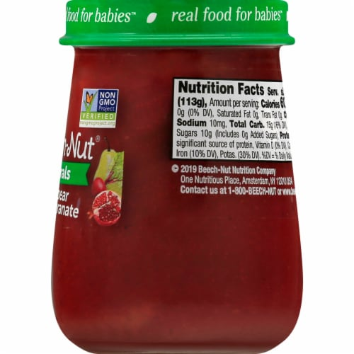 Beech-Nut Naturals Stage 2 Beet Pear & Pomegranate Baby Food Jar Perspective: back