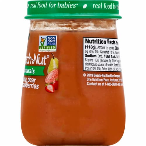Beech-Nut Naturals Stage 2 Guava Pear & Strawberries Baby Food Jar Perspective: back