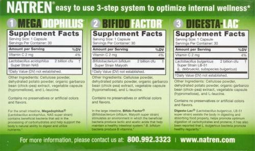 Natren Healthy Start System Probiotic Dietary Supplement Capsules Perspective: back