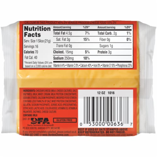 Borden American Singles Individually Wrapped Cheese Product Slices Perspective: back