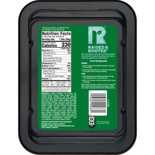 Raised & Rooted™ Bratwurst Style Plant Based Sausage Perspective: back