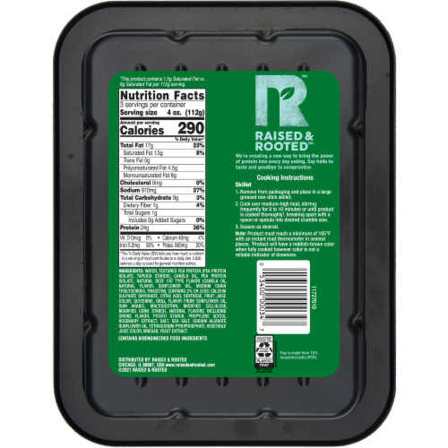 Raised & Rooted™ Plant Based Ground! Meat Alternative Perspective: back