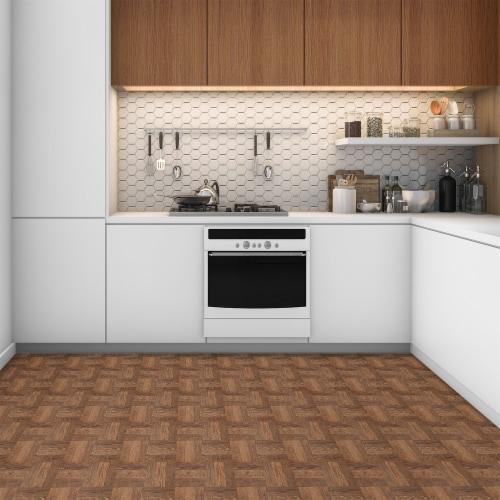 Portfolio 12x12 2.0mm Self Adhesive Vinyl Floor Tile - Walnut Parquet - 9 Tiles/9 sq. ft. Perspective: back