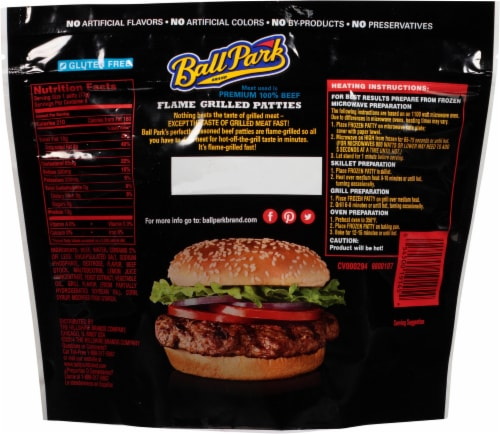 Ball Park Flame Grilled Fully Cooked Beef Patties Perspective: back
