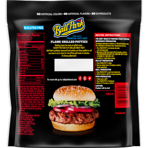 Ball Park® Flame Grilled Fully Cooked Beef with Cheese & Bacon Patties Perspective: back