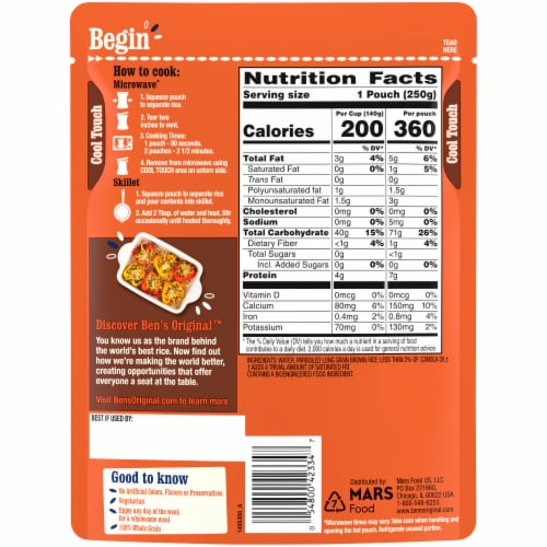 Ben's Original™ Ready Rice Whole Grain Brown Rice Perspective: back