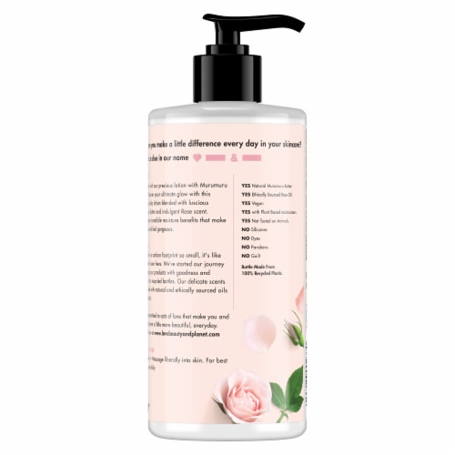 Love Beauty and Planet Delicious Glow Murumuru Butter & Rose Body Lotion Perspective: back