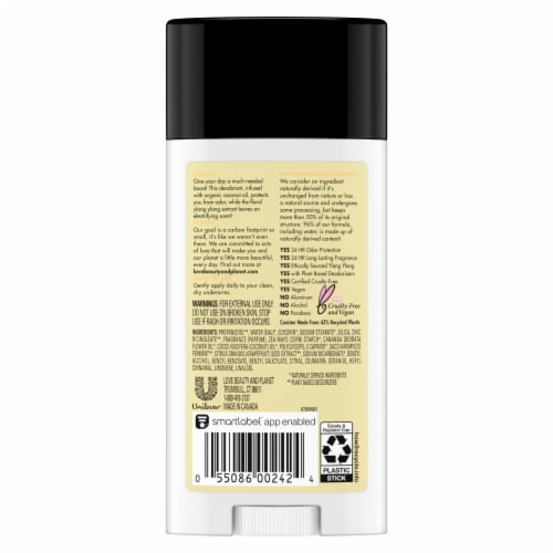Love Beauty and Planet Coconut Oil & Ylang Ylang Aluminum Free Deodorant Perspective: back