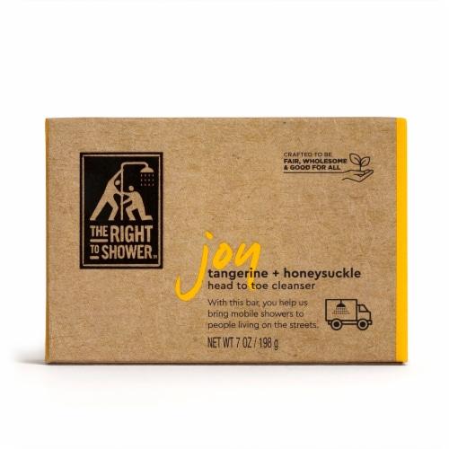 The Right To Shower Joy Tangerine & Honeysuckle Shampoo Bar & Bar Soap Perspective: back