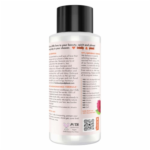 Love Beauty and Planet Silicone-Free Black Tea Kombucha & Red Ginger Nourishing Conditioner Perspective: back