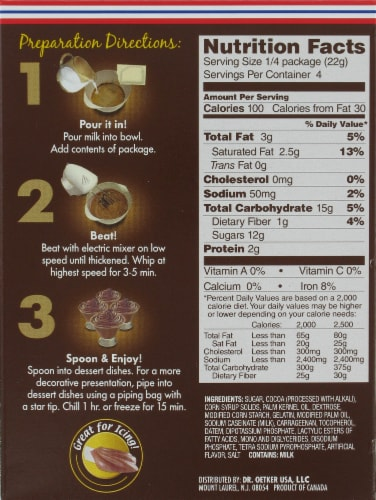 Dr. Oetker Milk Chocolate Mousse Mix Perspective: back
