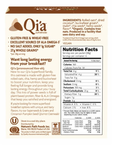 Nature's Path Organic™ Qi'a Gluten Free Creamy Coconut Oatmeal Packets Perspective: back