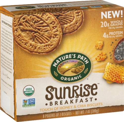 Nature's Path Organic Sunrise Honey & Chia Breakfast Biscuits Perspective: back